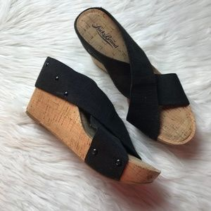 Lucky Brand Black Miller Cork Wedges